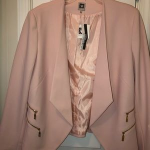 Pale blush jacket with blouse (blush and white)